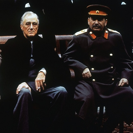 Caption: U.S. President Franklin Roosevelt and Soviet premier Joseph Stalin at the Yalta conference, February 1945.