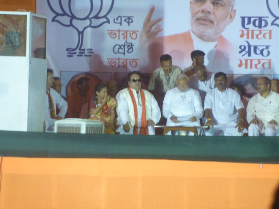 Caption: Bappi Lahiri at an election rally , Credit: Sandip Roy