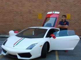 Caption: Paolo Feraboli and a Lamborghini Gallardo LP 560-4 made with carbon fiber from his lab at the University of Washington., Credit: Paul Kane