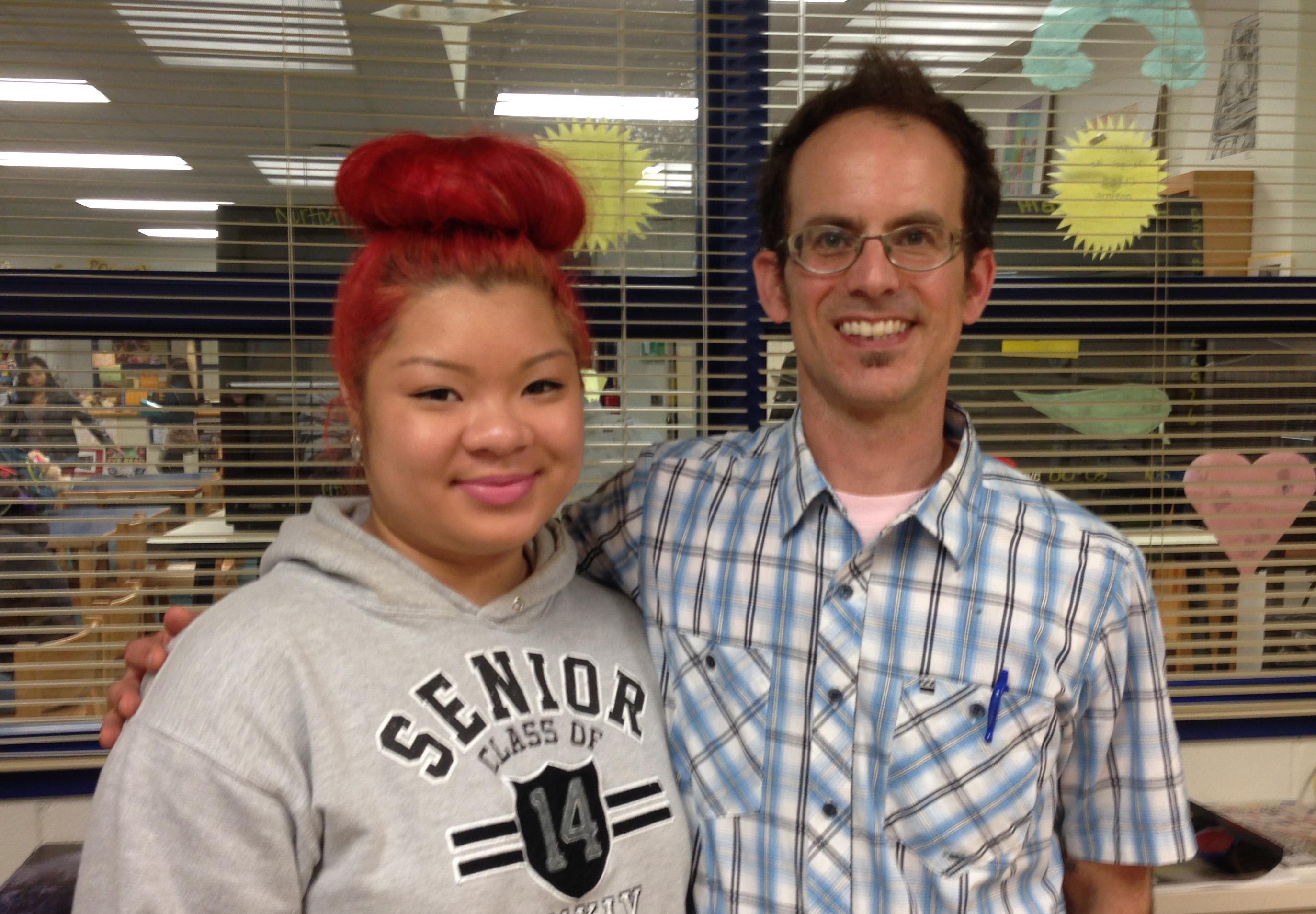 Caption: Northern High School senior Katie Tran and track coach/math teacher Blake Rahn, Credit: Will Michaels