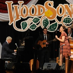 Caption: China Forbes and Thomas Lauderdale from Pink Martini make their debut on the WoodSongs Stage.