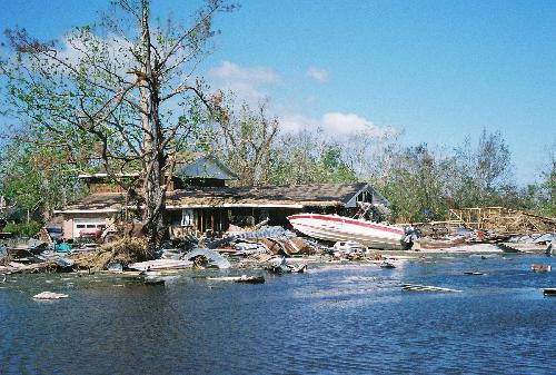 Caption: Hurricane Katrina ravaged the gulf coast in August 2005 and is considered the greatest single disaster in the history of the United States. Over 1,200 deaths resulted from the hurricane and over $40 billion in damages. Houses in this area have been repeat, Credit: David Helvarg, Blue Frontier Campaign | Marine Photobank