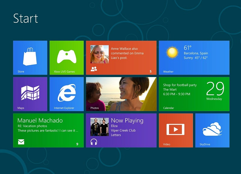 Caption: Windows 8 Start Screen, Credit: Microsoft