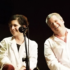 Caption: Author Daniel Handler and artist Lisa Brown, Credit: Jennie Baker for Live Wire Radio