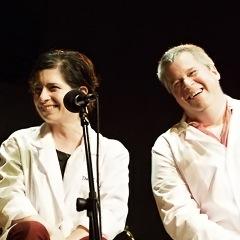 Caption: Author Daniel Handler and artist Lisa Brown, Credit: Jennie Baker for Live Wire Radio