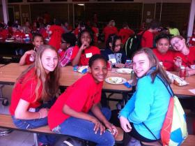 """Caption: Grace, Zariah and Molly eat lunch together at a """"geekend"""" designed to bring students from neighboring districts together., Credit: Sarah Alvarez"""