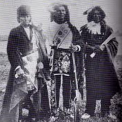 Caption: Bugonaygeshig, George White, & Baadwewidang of Leech Lake Pillager