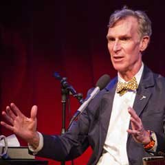 Caption: Bill Nye at the LightSail countdown celebration., Credit: Loren Roberts