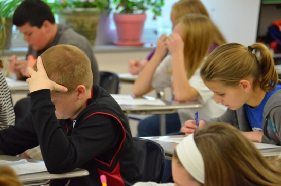 Caption:  Students in Kentucky taking a Common Core math test, Credit: Photo by Emily Hanford