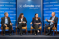 Caption: L. to R.: Barton Thompson, Jr., Professor of Natural Resources Law, Stanford Law School Debbie Davis, Office of Planning and Research, State of California  Felicia Marcus, Chair, State Water Resources Control Board, Host Greg Dalton, Credit: Ed Ritger