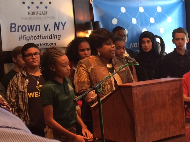 Caption: Buffalo charter school families speak out at news conference, Credit: WBFO's Eileen Buckley