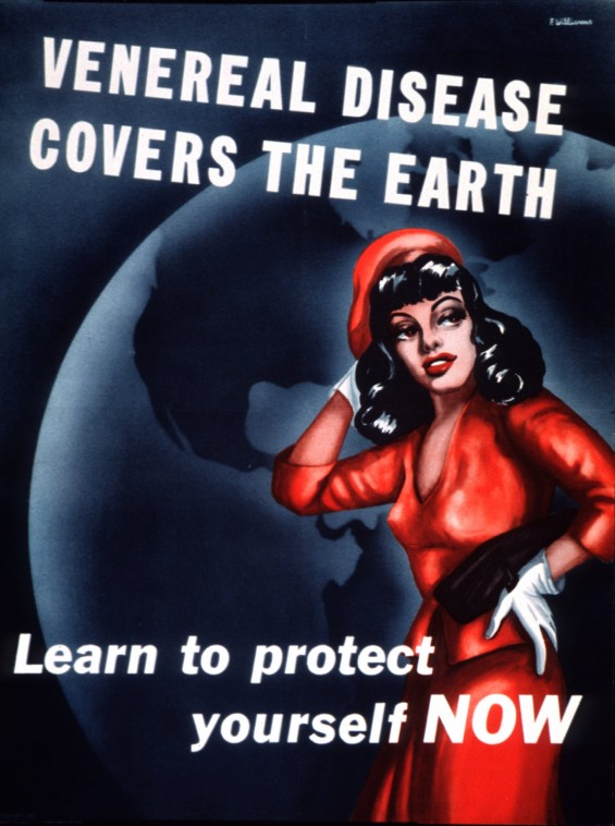 Caption: An archival WWII VD prevention poster, Credit: U.S. National Library of Medicine