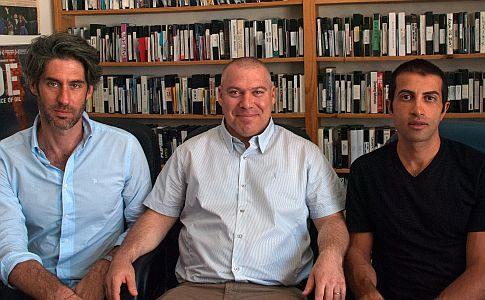 Caption:  Nadav Schirman, Gonen Ben Yitzak, and Mossab Hassan Yousef, San Francisco, CA 7/25/14, Credit: Andrea Chase