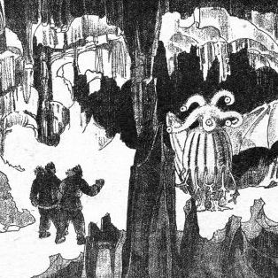 Caption: Antarctic explorers discover a creature in a cavern, Credit: Astounding Tales, February 1936