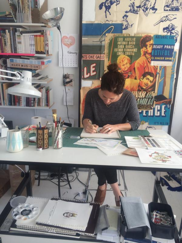 Caption: Wendy MacNaughton in her San Francisco studio