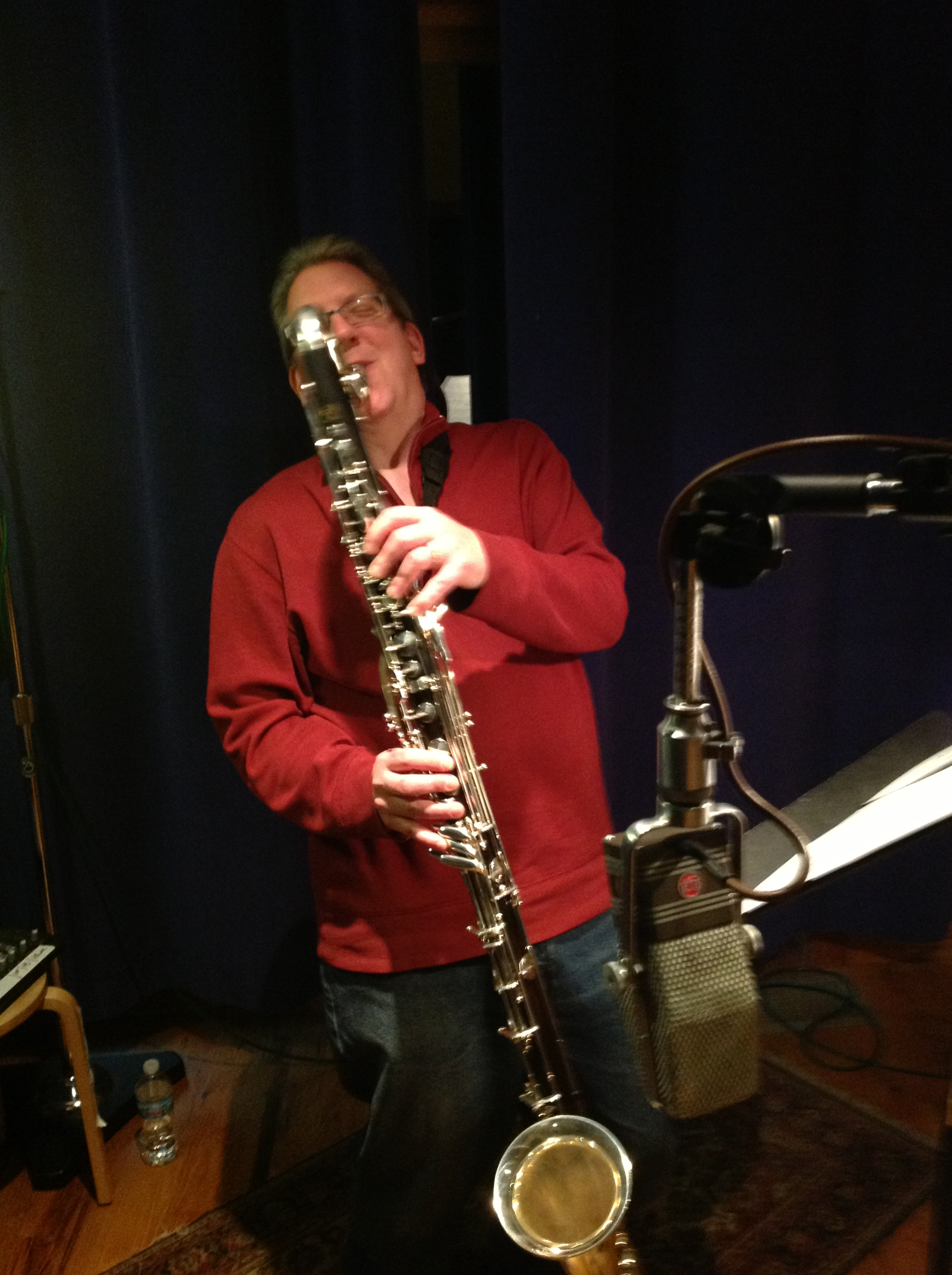Caption: Pat O'Keefe with bass clarinet, Credit: Scott Miller