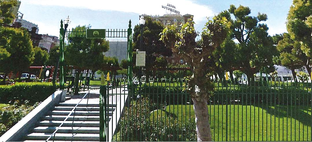 Caption: Pending approval, a reconstructed 6 foot fence could line the perimeter of Huntington Park in Nob Hill., Credit: Visualization courtesy of SF Recreation and Park Department