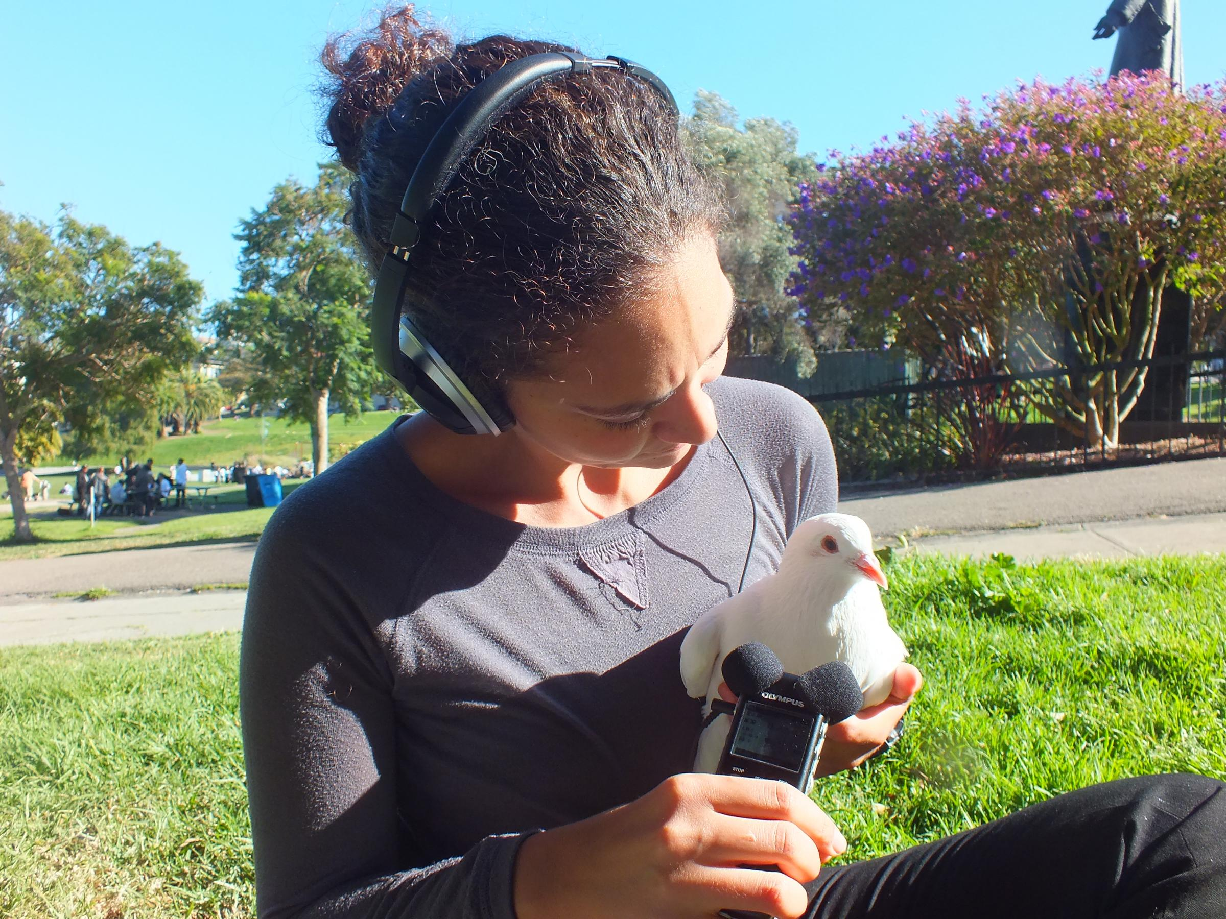 Caption: Reporter Martina Castro interviews a pigeon, Credit: Elizabeth Young