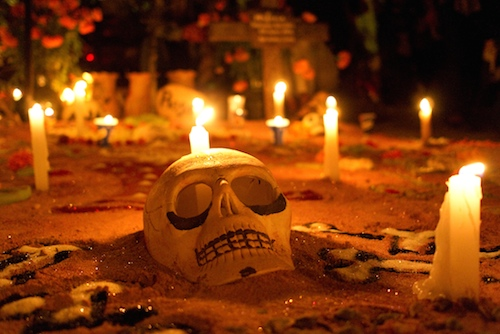 Caption: The Rios family grave in San Felipe del Agua, Oaxaca, Mexico, decorated for Dia de los Muertos in 2011, Credit: photo: Marcus Teply