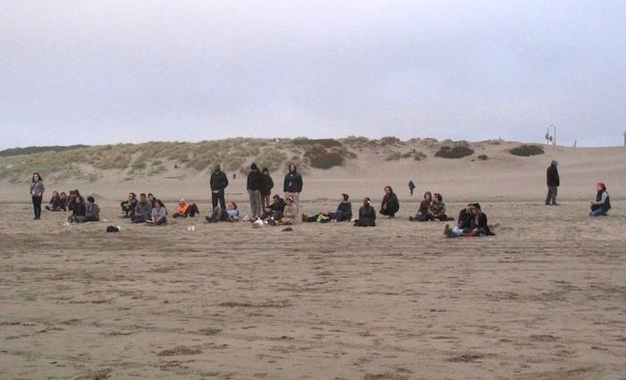 Caption: Listening to Music for a Changing Tide at Ocean Beach, Credit: Julie Caine