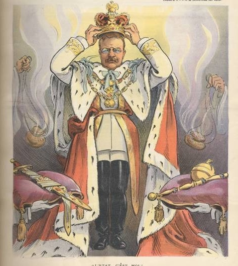 "Caption: ""L'etat, c'est moi!"" Teddy Roosevelt crowning himself on the cover of Puck Magazine. , Credit: Credit: Library of Congress."