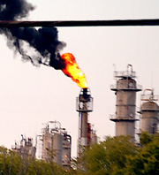 Caption: The Texas Petrochemicals flare., Credit: Bryan Parras