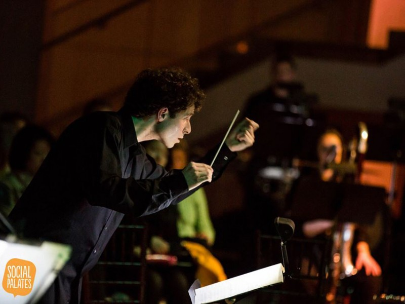 Caption: Matt Aucoin conducts his Encounters Ensemble at PEM, Credit: SocialPalates