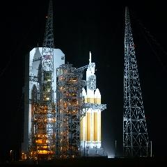 Caption: Orion awaits launch atop its Delta IV Heavy rocket., Credit: Jason Davis/The Planetary Society