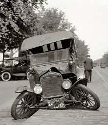 Caption: Broken down automobile