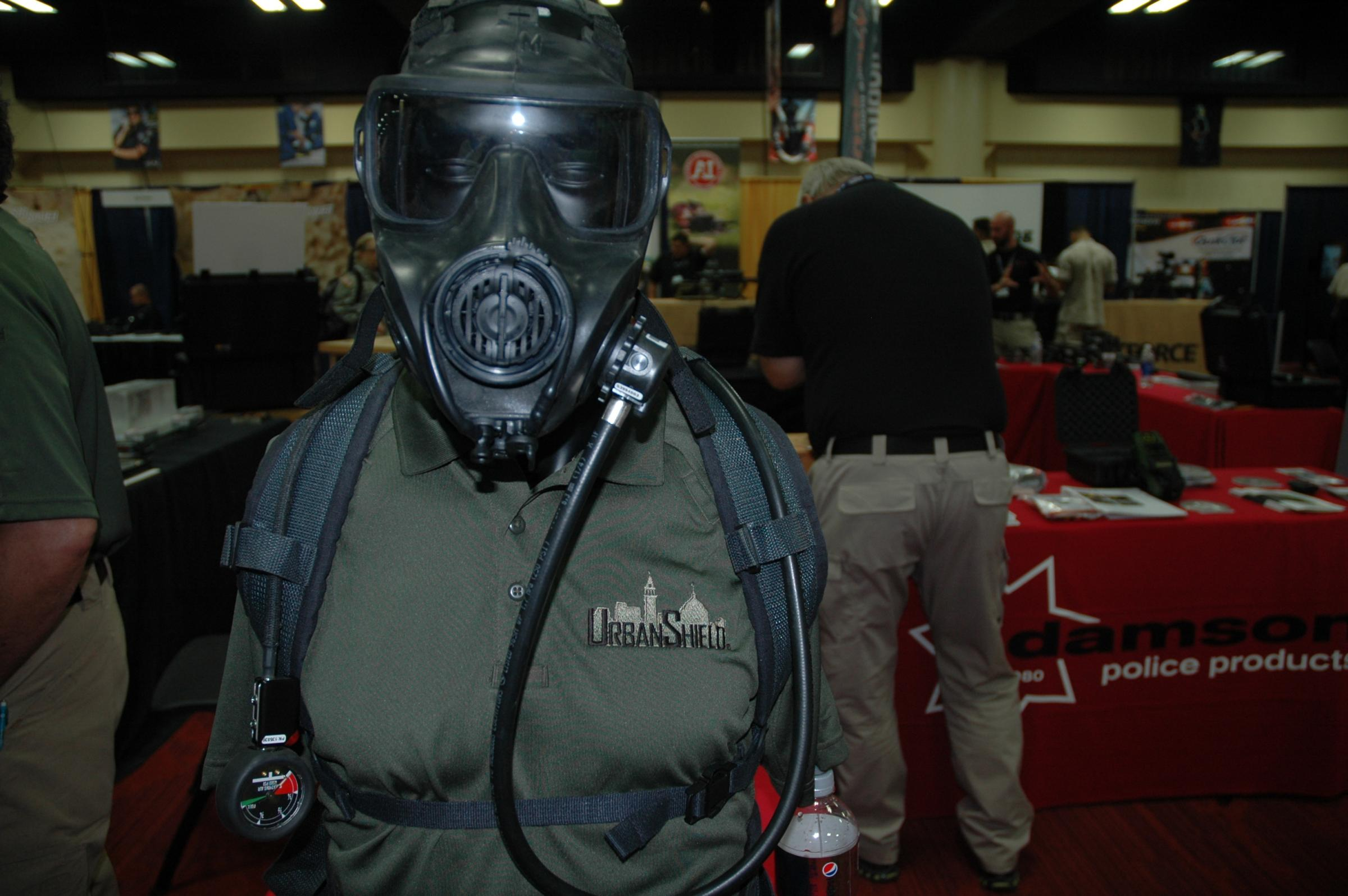 Caption: Inside the Urban Shield trade show, Credit: Sandhya Dirks