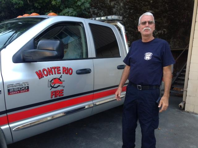 Caption: Monte Rio Volunteer Fire Chief Steve Baxman ready for action, Credit: Rhian Miller