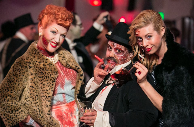 Caption: Martha Villa (center) with friend and model Kristina Orlova (right) and burlesque performer Dixie DeLish at San Francisco's 2013 Zombie Prom. Villa did her own makeup as well as Orlova's., Credit: San Francisco Zombie Prom