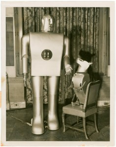 Caption: Elektro the Moto-Man and his Little Dog Sparko, created by Westinghouse Electric Company for the 1939 World's Fair., Credit: New York City Public Library