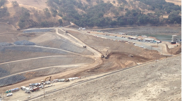 Caption: Construction site at the Calaveras Dam in the East Bay hills.