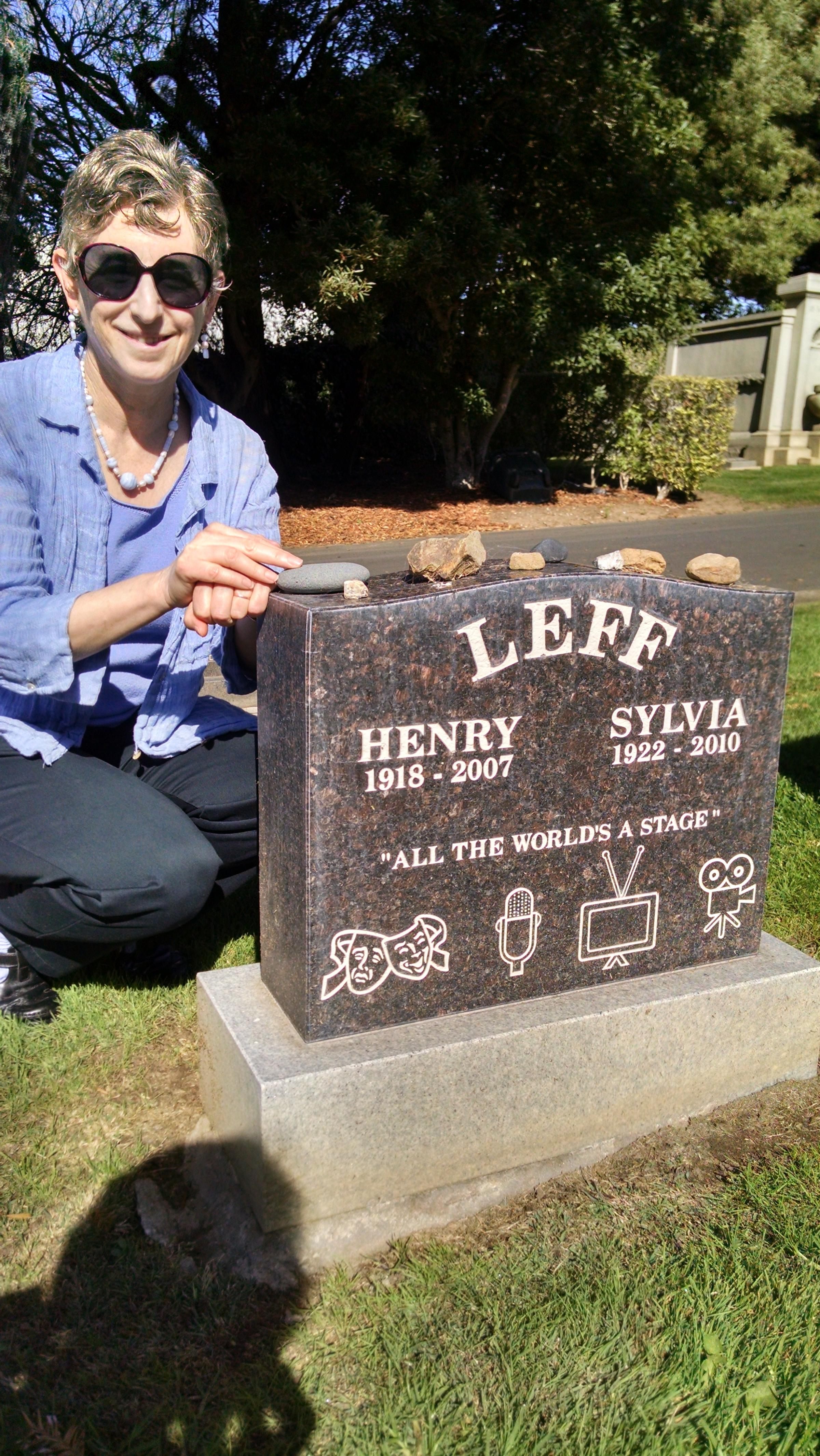 Caption: Judi Leff at her parents' grave in Colma , Credit: Melanie Young