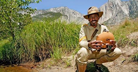 "Caption: Yosemite National Park ranger Shelton Johnson in uniform as a ""Buffalo Soldier."""