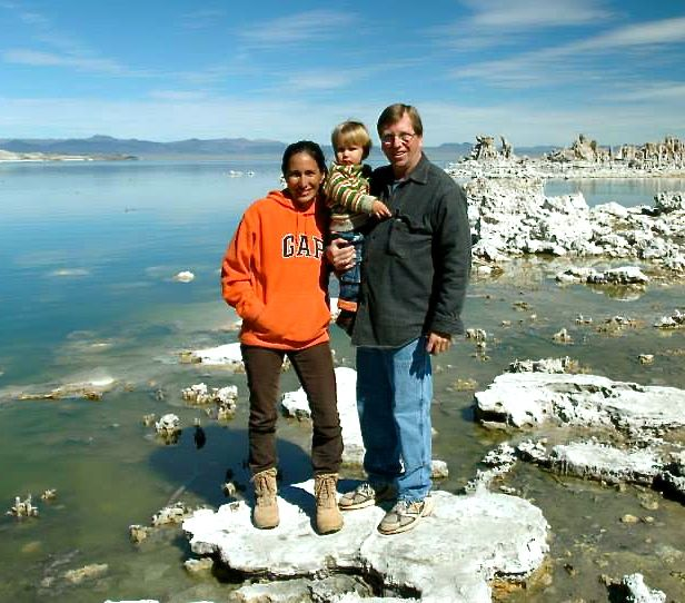 Caption: Gisela, Paul and their son at Mono Lake, Credit: Gisela Bjerg