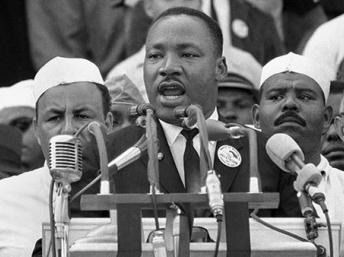 Caption: Martin Luther King giving his historic 'I have a dream' speech in Washington in August 1963 , Credit: Library of congress