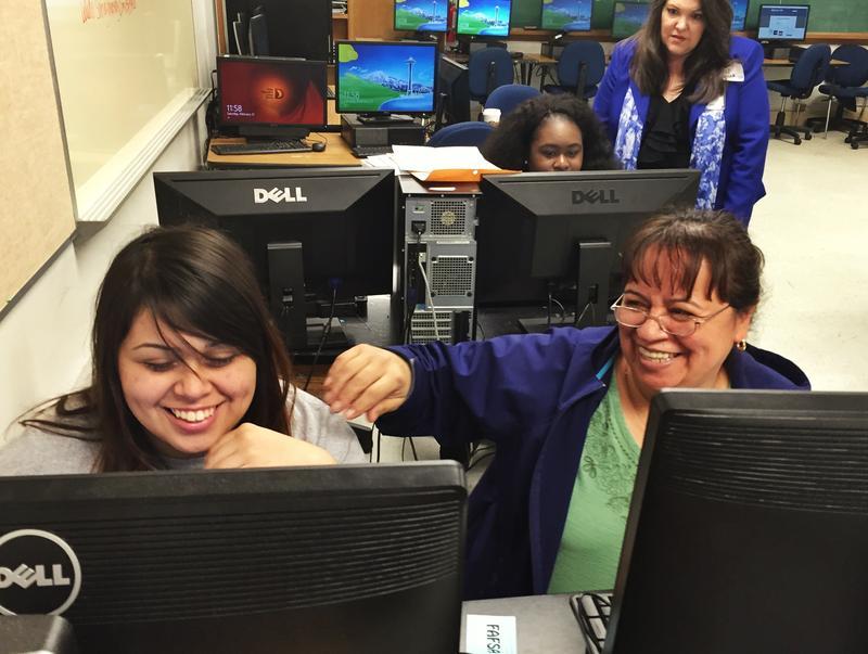 Caption: Ashley Flores (left) and her mother, Juana Flores, Credit: Dianna Douglas