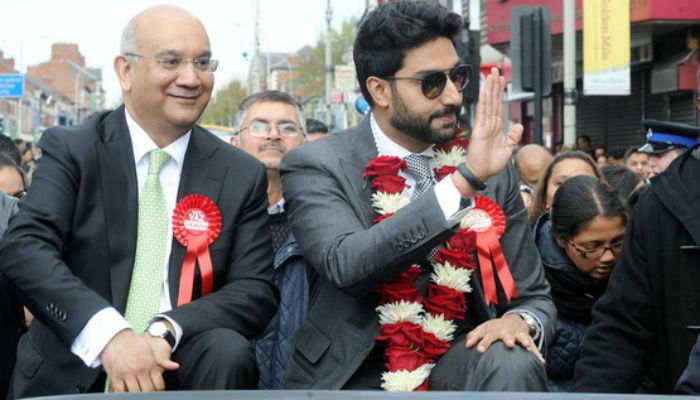 Caption: Abhishek Bachchan and Keith Vaz