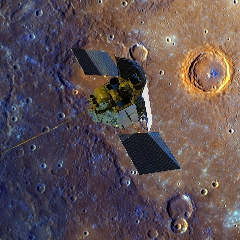 Caption: A depiction of the MESSENGER spacecraft is shown flying over Mercury's surface displayed in enhanced color., Credit: NASA/JHU APL/Carnegie Institution of Washington