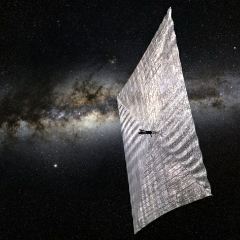 Caption: Artist's conception of a LightSail in Earth orbit., Credit: The Planetary Society