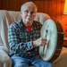 Caption: Dave Brown with his bodhran., Credit: Jonathan Earle