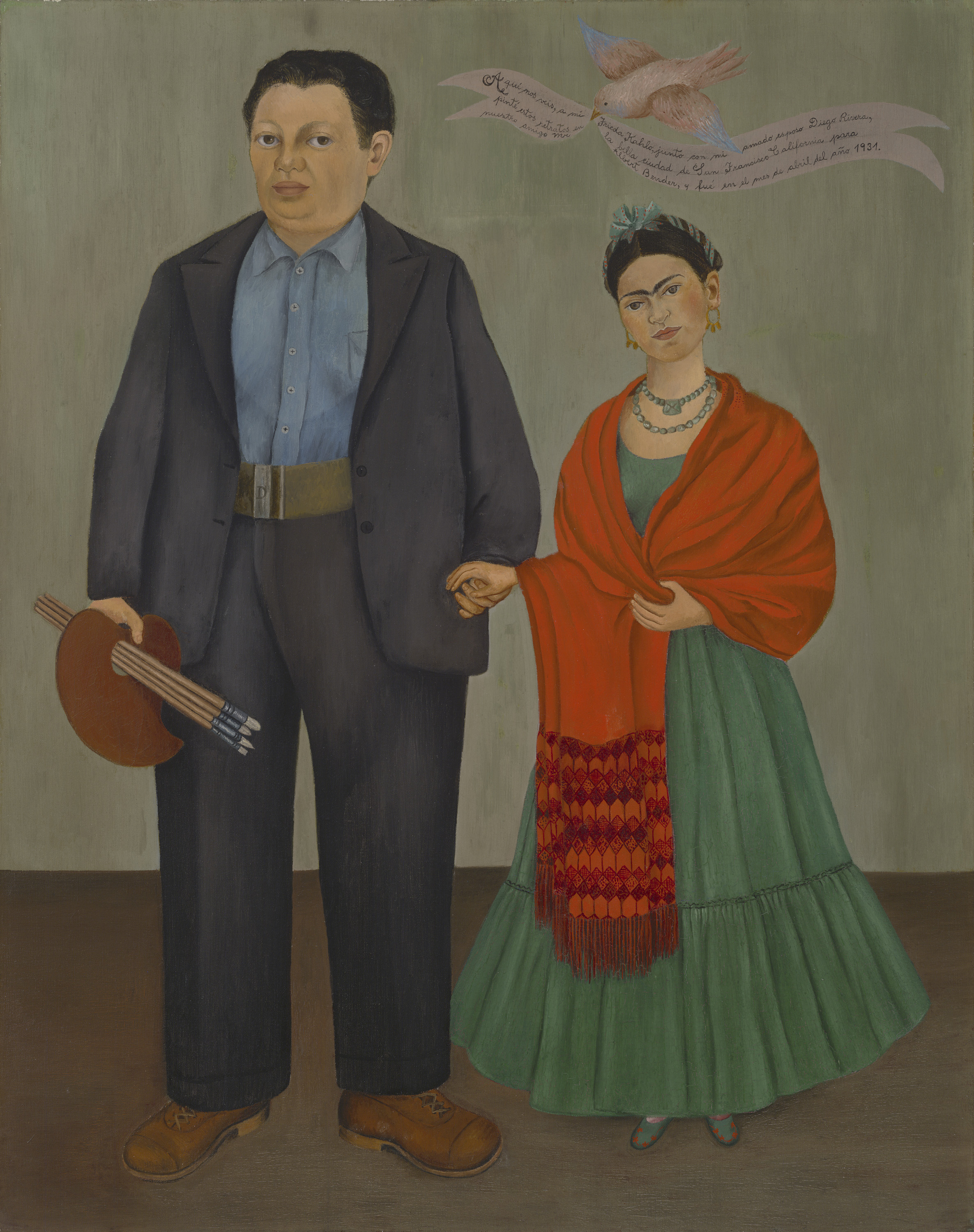 Caption: Frieda and Diego Rivera, Frida Kahlo, 1931, oil on canvas, , Credit: , San Francisco Museum of Modern Art, Albert M. Bender Collection, Gift of Albert M. Bender © 2014 Banco de México Diego Rivera Frida Kahlo Museums Trust, Mexico, D.F.  A