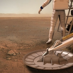 Caption: The first human steps onto Mars in this illustration from the 2015 Humans to Mars Report., Credit: Explore Mars, Inc.