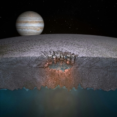 "Caption: This artist's concept depicts Europa's ""Great Lake."" Researchers predict many more such lakes are scattered throughout the moon's icy shell., Credit: Britney Schmidt/Dead Pixel VFX/Univ. of Texas at Austin"