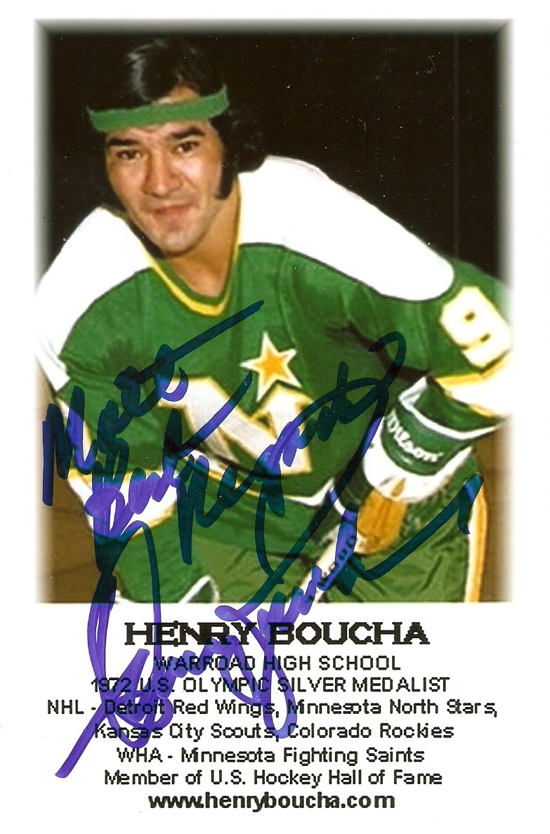 Caption: Warroad, MN native and auther - Henry Boucha