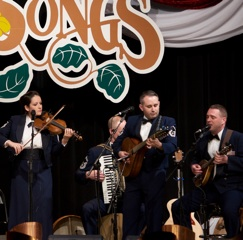 Caption: The U.S. Air Force Band Celtic Aire grace the WoodSongs Stage.