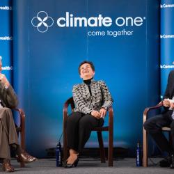 Caption: Bill Reilly, TPG Capital; Christiana Figueres, United Nations; Host Greg Dalton, Credit: Ed Ritger