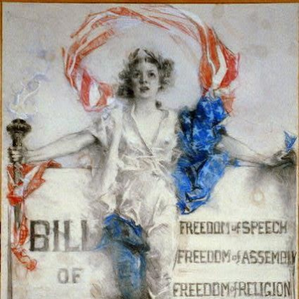 Caption: Female personification of the Bill of Rights, 1941, Credit: Library of Congress